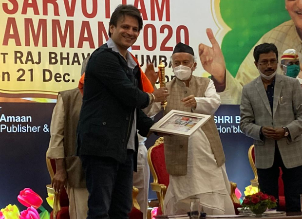 Vivek Oberoi receives Sarvottam Samman from Governor of Maharashtra for his performance in PM Narendra Modi
